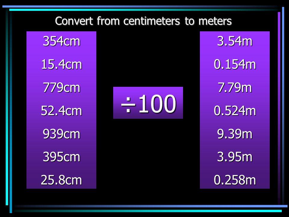 Therefore:- 427cm = 4.27m HTOthth 326 HTOth 326 HTOth 476 HTOth 1653 HTOth 0476 HTOth 1653 ÷100 ÷100 ÷100 cm m