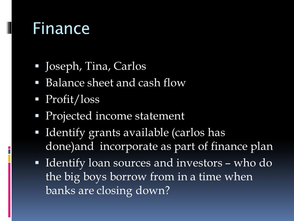 Finance  Joseph, Tina, Carlos  Balance sheet and cash flow  Profit/loss  Projected income statement  Identify grants available (carlos has done)and incorporate as part of finance plan  Identify loan sources and investors – who do the big boys borrow from in a time when banks are closing down