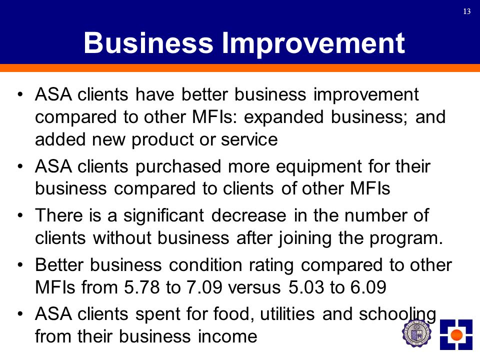 13 Business Improvement ASA clients have better business improvement compared to other MFIs: expanded business; and added new product or service ASA clients purchased more equipment for their business compared to clients of other MFIs There is a significant decrease in the number of clients without business after joining the program.