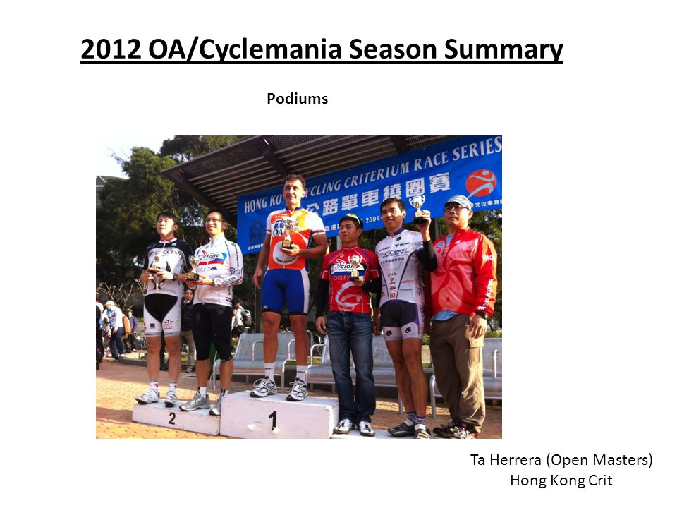 2012 OA/Cyclemania Season Summary Podiums Ta Herrera (Open Masters) Hong Kong Crit