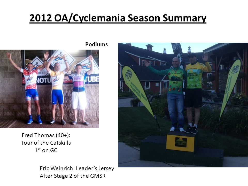 2012 OA/Cyclemania Season Summary Podiums Fred Thomas (40+): Tour of the Catskills 1 st on GC Eric Weinrich: Leader's Jersey After Stage 2 of the GMSR
