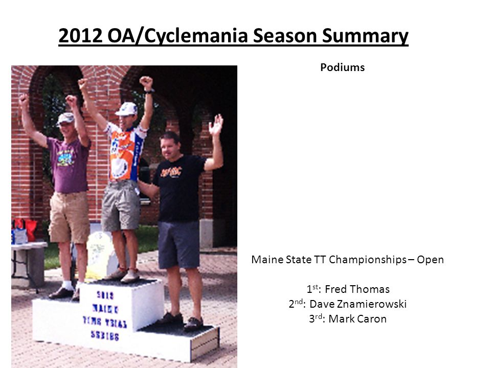 2012 OA/Cyclemania Season Summary Podiums Maine State TT Championships – Open 1 st : Fred Thomas 2 nd : Dave Znamierowski 3 rd : Mark Caron
