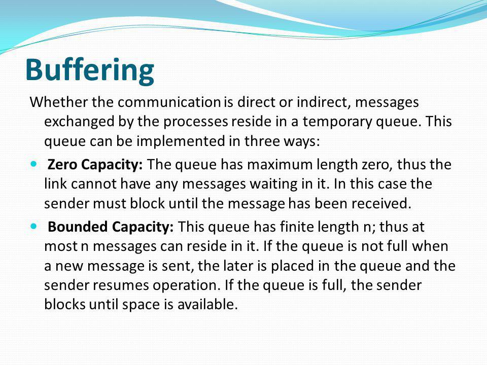 Buffering Whether the communication is direct or indirect, messages exchanged by the processes reside in a temporary queue. This queue can be implemen