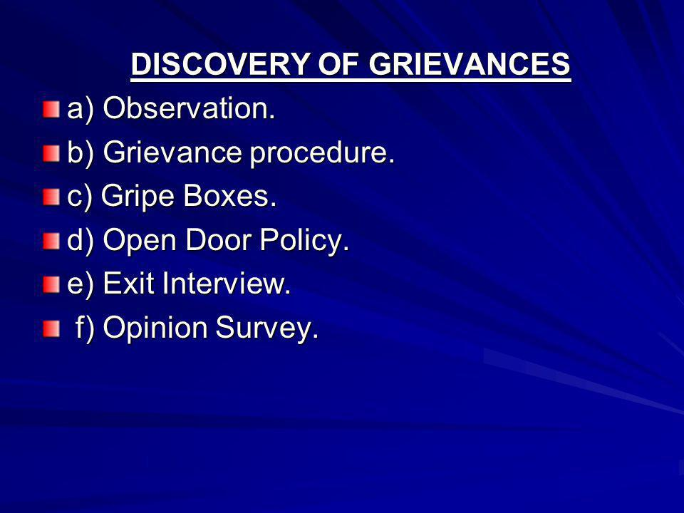 DISCOVERY OF GRIEVANCES a) Observation. b) Grievance procedure.