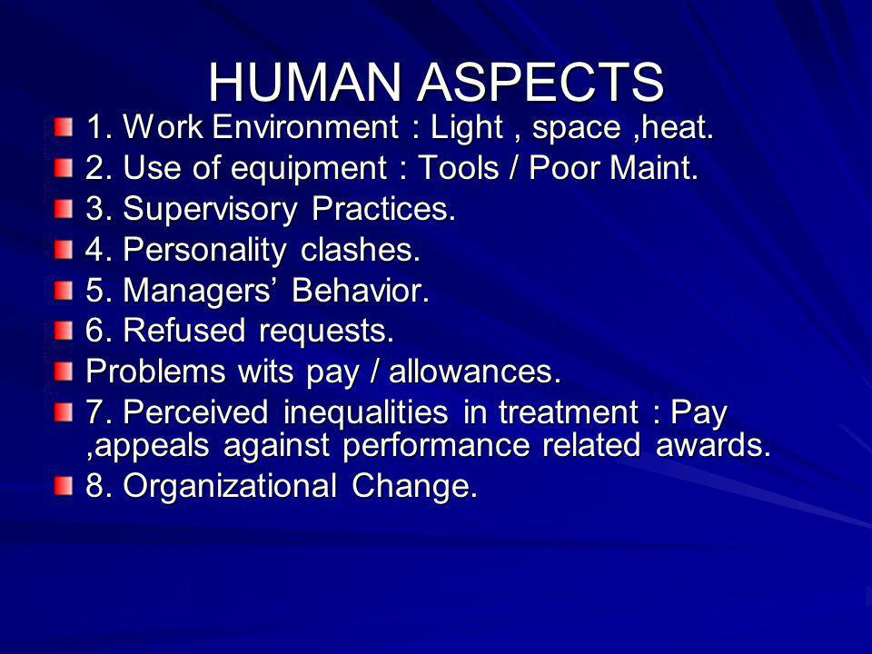 HUMAN ASPECTS 1. Work Environment : Light, space,heat. 2. Use of equipment : Tools / Poor Maint. 3. Supervisory Practices. 4. Personality clashes. 5.