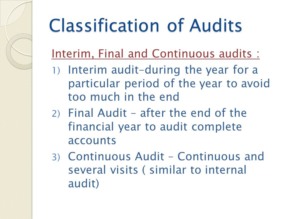 Balance Sheet Audit Method on B/S audit : 1) Review of Internal controls – whether effective, internal control in operation 2) Verification of Items in the final Accounts – verification, inspection, vouching, valuation, presentation and disclosure 3) Specific Items – all aspects of fixed assets, drs, crs, cash, stock, bad debts, contingent liabilities 4) Overall checking of final Accounts (Analytical Review) – important ratios, non recurring transactions, funds flow, minutes
