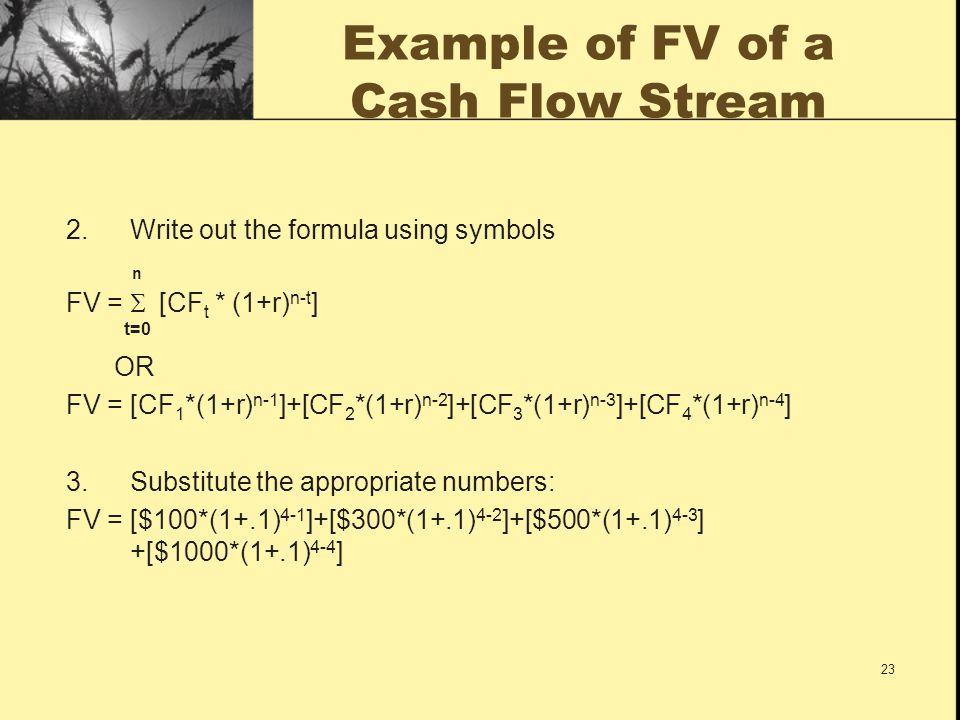 23 Example of FV of a Cash Flow Stream 2.Write out the formula using symbols n FV =  [CF t * (1+r) n-t ] t=0 OR FV = [CF 1 *(1+r) n-1 ]+[CF 2 *(1+r