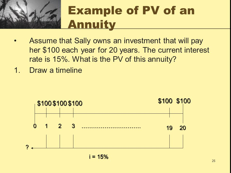 26 Example of PV of an Annuity Assume that Sally owns an investment that will pay her $100 each year for 20 years. The current interest rate is 15%. W