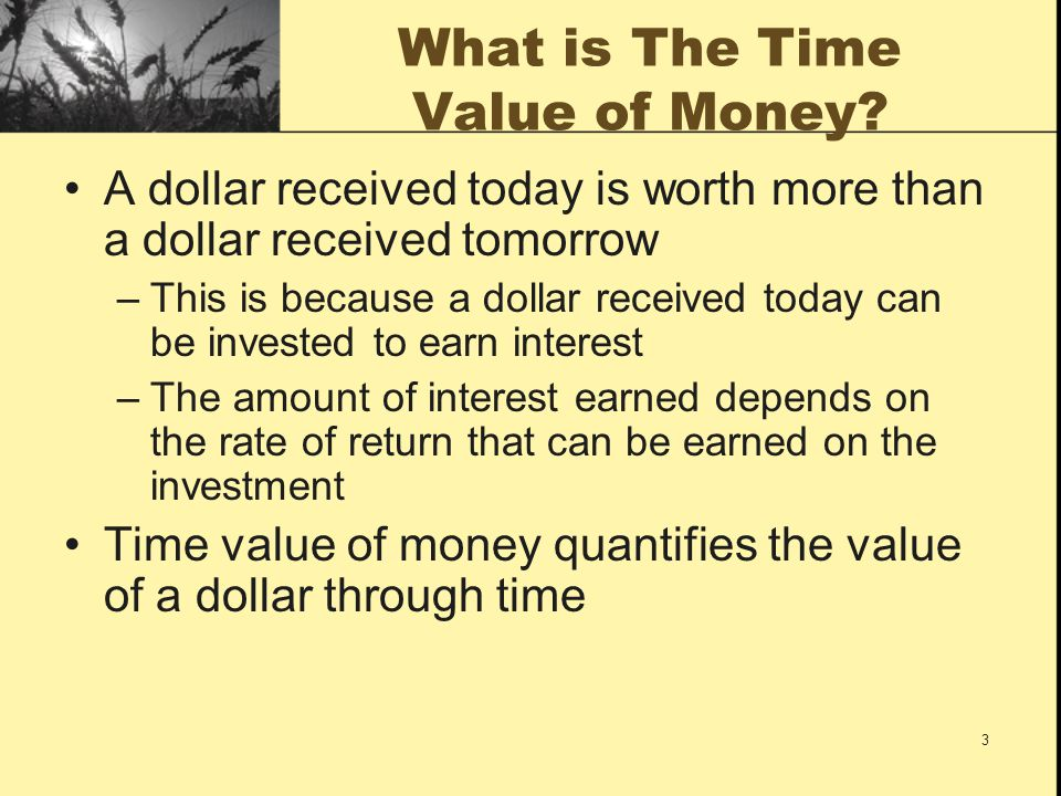 4 Uses of Time Value of Money Time Value of Money, or TVM, is a concept that is used in all aspects of finance including: –Bond valuation –Stock valuation –Accept/reject decisions for project management –Financial analysis of firms –And many others!