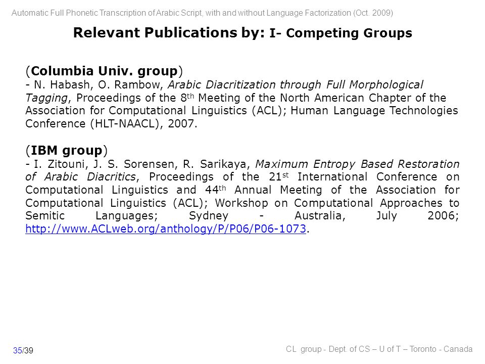 Relevant Publications by: I- Competing Groups (Columbia Univ.
