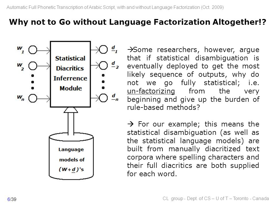 Why not to Go without Language Factorization Altogether!.