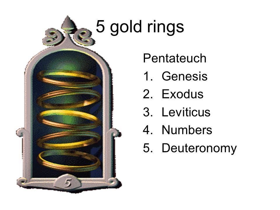 5 gold rings Pentateuch 1.Genesis 2.Exodus 3.Leviticus 4.Numbers 5.Deuteronomy