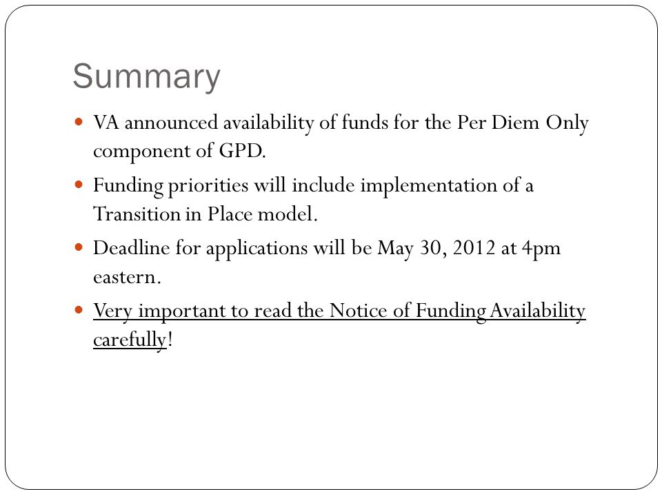 Funding Priorities Applicants must indicate under which funding priority the application is to be considered.