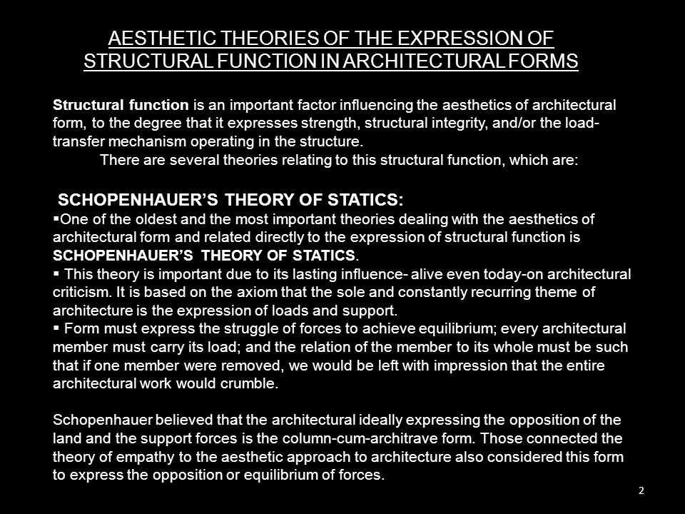 3 THEORY OF EMPATHY: VISCHER, one of the most prominent students of aesthetics, also believed that the column is a form that expresses better than any other form the struggle between force and weight.