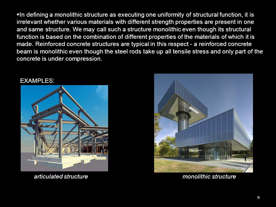 10  The term monolithic structure is not reserved for structures that do not express structural function through form.