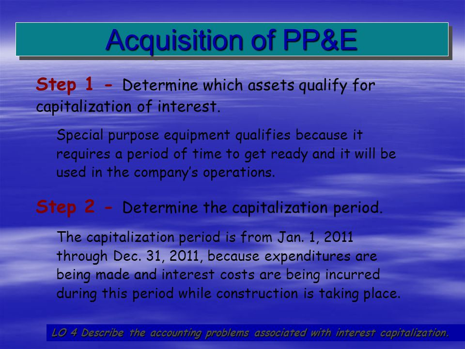 20 Step 1 - Determine which assets qualify for capitalization of interest. Special purpose equipment qualifies because it requires a period of time to
