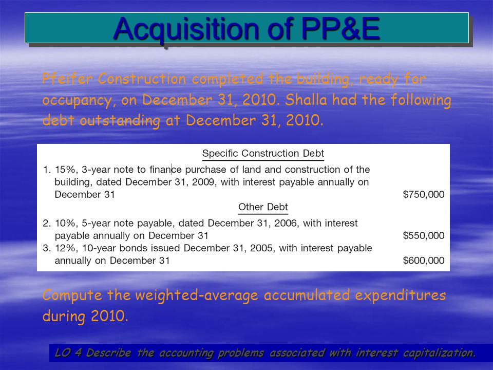 27 Acquisition of PP&E LO 4 Describe the accounting problems associated with interest capitalization. Pfeifer Construction completed the building, rea