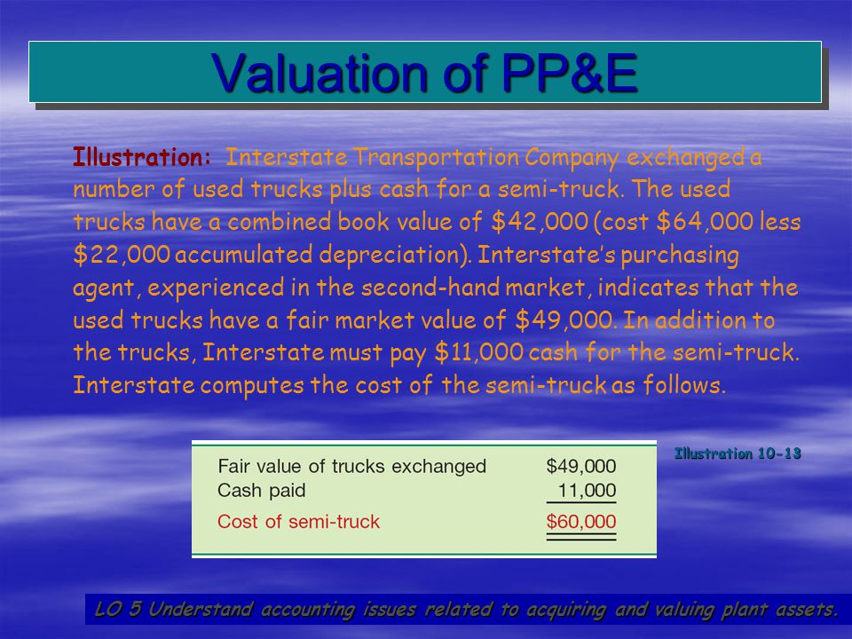 41 Valuation of PP&E LO 5 Understand accounting issues related to acquiring and valuing plant assets. Illustration: Interstate Transportation Company