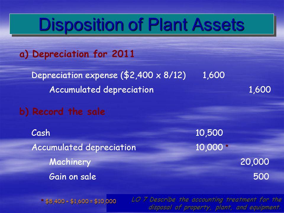 62 a) Depreciation for 2011 Depreciation expense ($2,400 x 8/12)1,600 Accumulated depreciation1,600 LO 7 Describe the accounting treatment for the dis