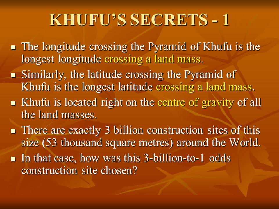 KHUFU'S SECRETS - 1 The longitude crossing the Pyramid of Khufu is the longest longitude crossing a land mass. The longitude crossing the Pyramid of K