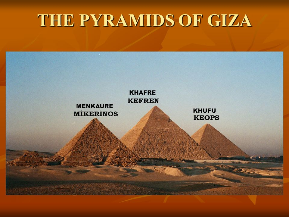 THE PYRAMIDS OF GIZA KHAFRE MENKAURE KHUFU