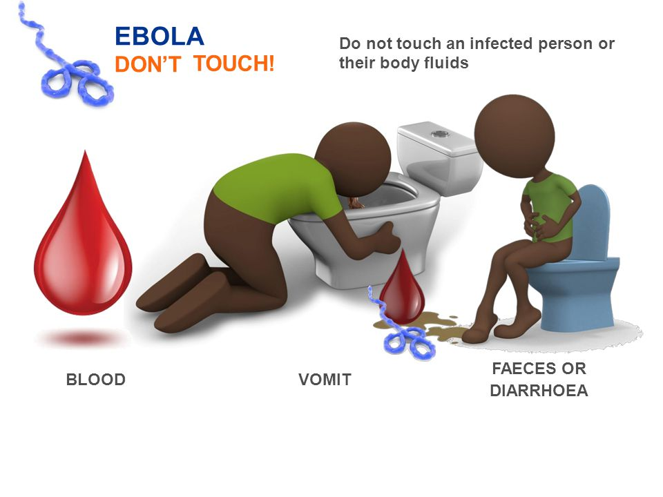 EBOLA DON'T Do not touch an infected their body fluids personor TOUCH.