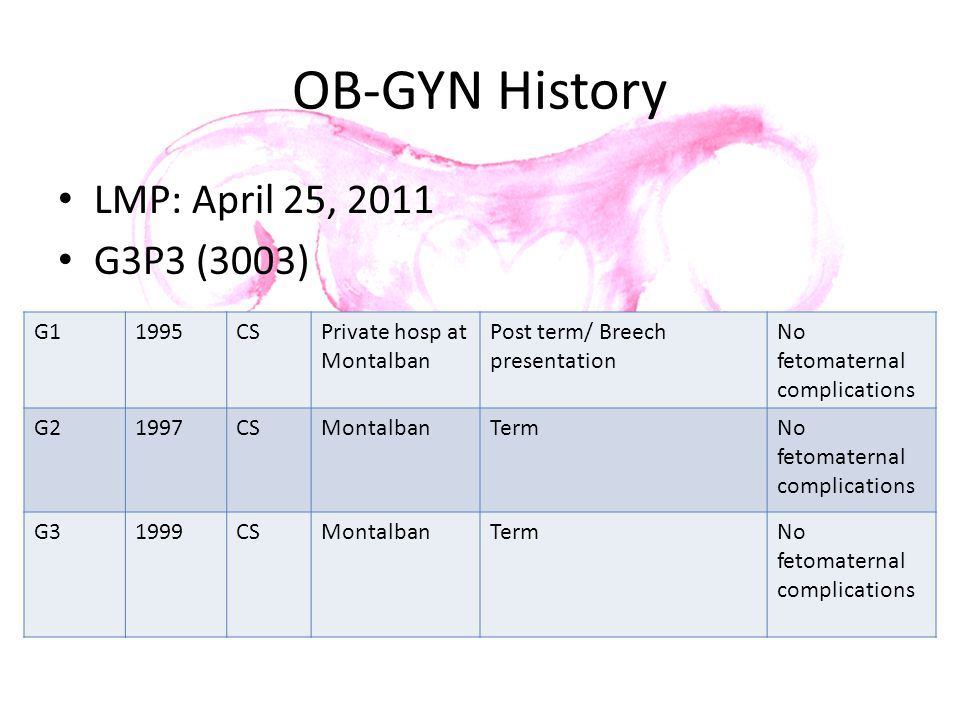 OB-GYN History LMP: April 25, 2011 G3P3 (3003) G11995CSPrivate hosp at Montalban Post term/ Breech presentation No fetomaternal complications G21997CS