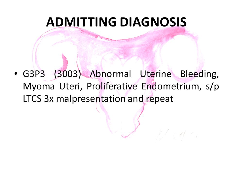 ADMITTING DIAGNOSIS G3P3 (3003) Abnormal Uterine Bleeding, Myoma Uteri, Proliferative Endometrium, s/p LTCS 3x malpresentation and repeat
