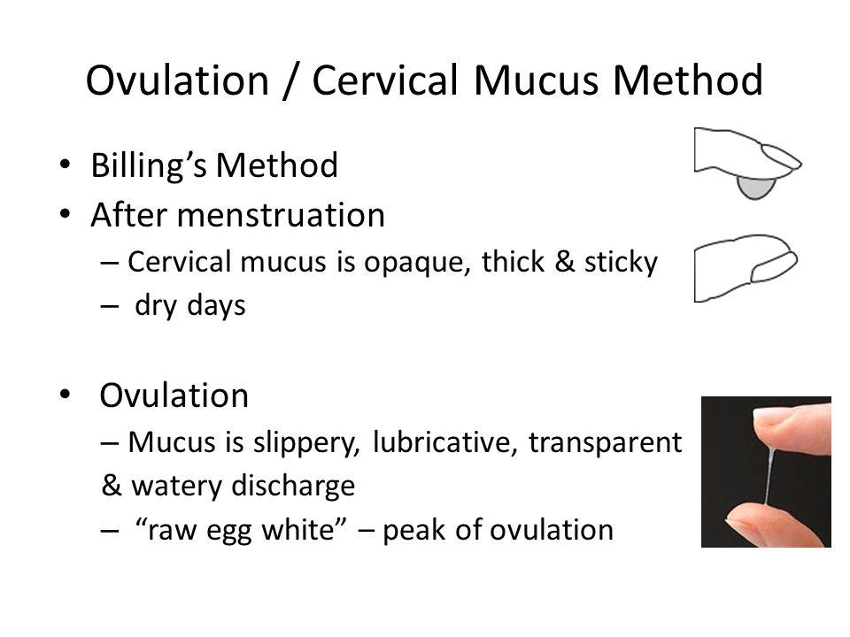 Ovulation / Cervical Mucus Method Billing's Method After menstruation – Cervical mucus is opaque, thick & sticky – dry days Ovulation – Mucus is slipp