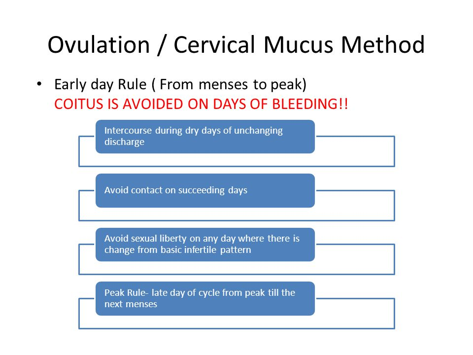 Early day Rule ( From menses to peak) COITUS IS AVOIDED ON DAYS OF BLEEDING!! Ovulation / Cervical Mucus Method Intercourse during dry days of unchang