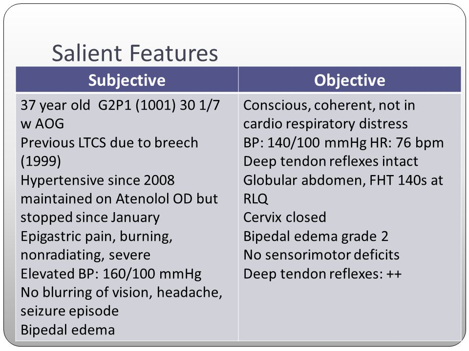 Salient Features SubjectiveObjective 37 year old G2P1 (1001) 30 1/7 w AOG Previous LTCS due to breech (1999) Hypertensive since 2008 maintained on Ate