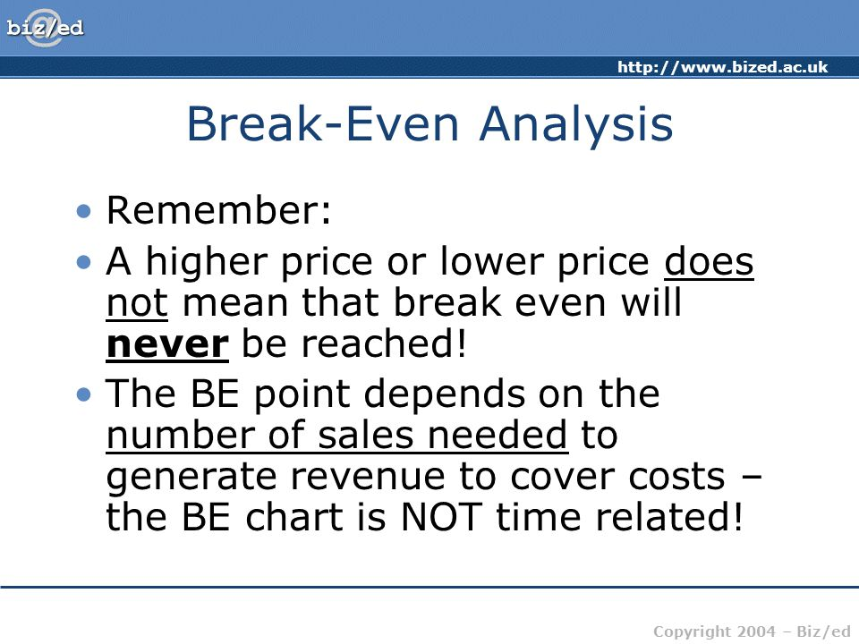 http://www.bized.ac.uk Copyright 2004 – Biz/ed Break-Even Analysis Remember: A higher price or lower price does not mean that break even will never be