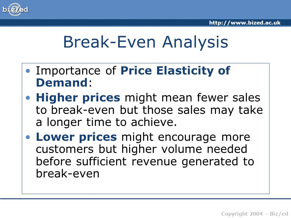 http://www.bized.ac.uk Copyright 2004 – Biz/ed Break-Even Analysis Importance of Price Elasticity of Demand: Higher prices might mean fewer sales to b