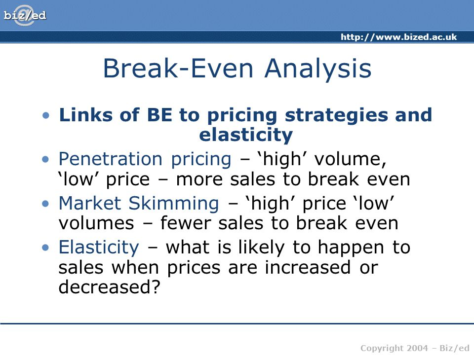 http://www.bized.ac.uk Copyright 2004 – Biz/ed Break-Even Analysis Links of BE to pricing strategies and elasticity Penetration pricing – 'high' volum