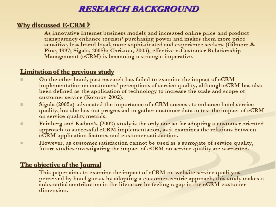 E-CRM : CONCEPT, MODEL AND MEASUREMENTS Literature Review 1 1.
