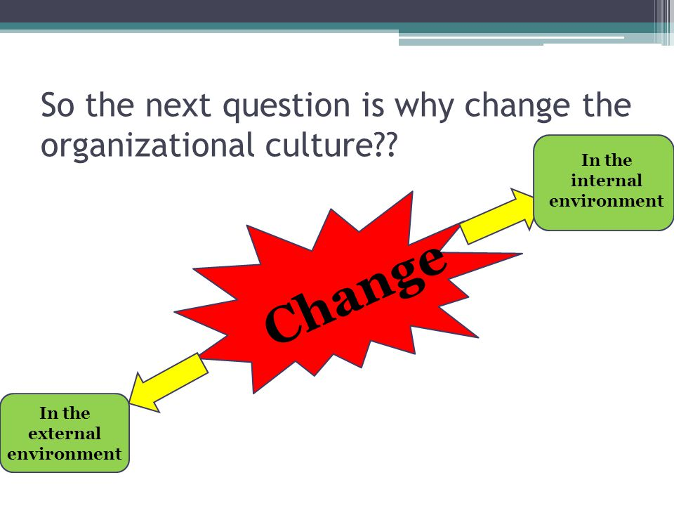 So the next question is why change the organizational culture?? Change In the external environment In the internal environment