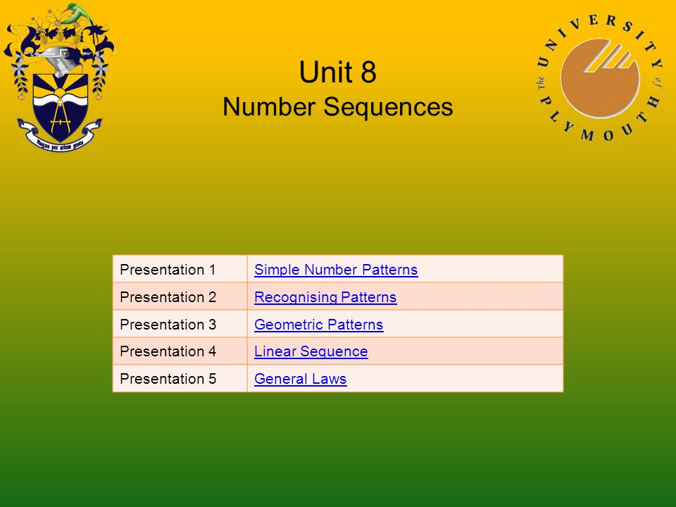 Unit 8 Number Sequences Presentation 1Simple Number Patterns Presentation 2Recognising Patterns Presentation 3Geometric Patterns Presentation 4Linear Sequence Presentation 5General Laws