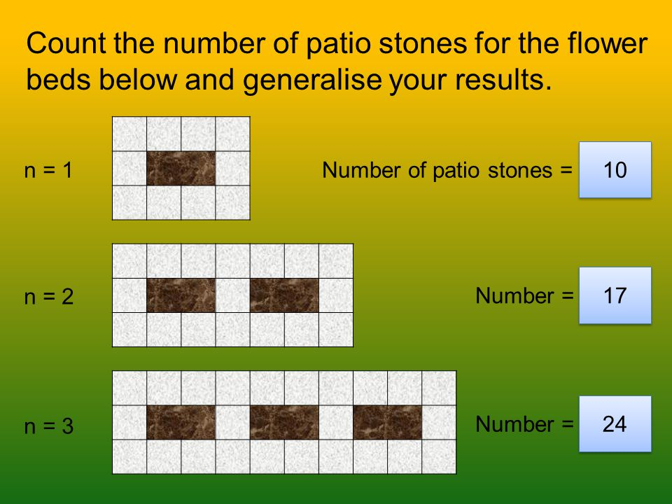 n = 4 n = 5 n = Number of patio stones =31 Number of patio stones = 38 28 Number of patio stones = 199 Count the number of patio stones for the flower beds below and generalise your results.