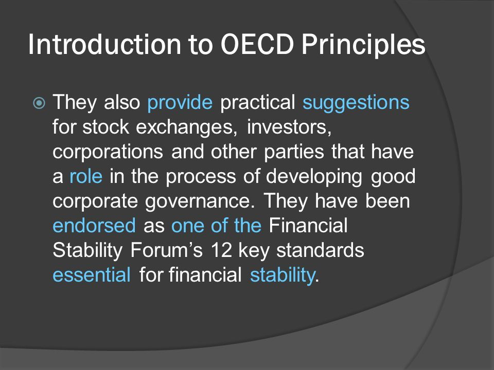  They also provide practical suggestions for stock exchanges, investors, corporations and other parties that have a role in the process of developing