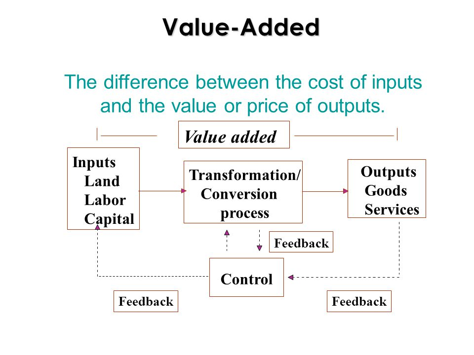 Value-Added The difference between the cost of inputs and the value or price of outputs.