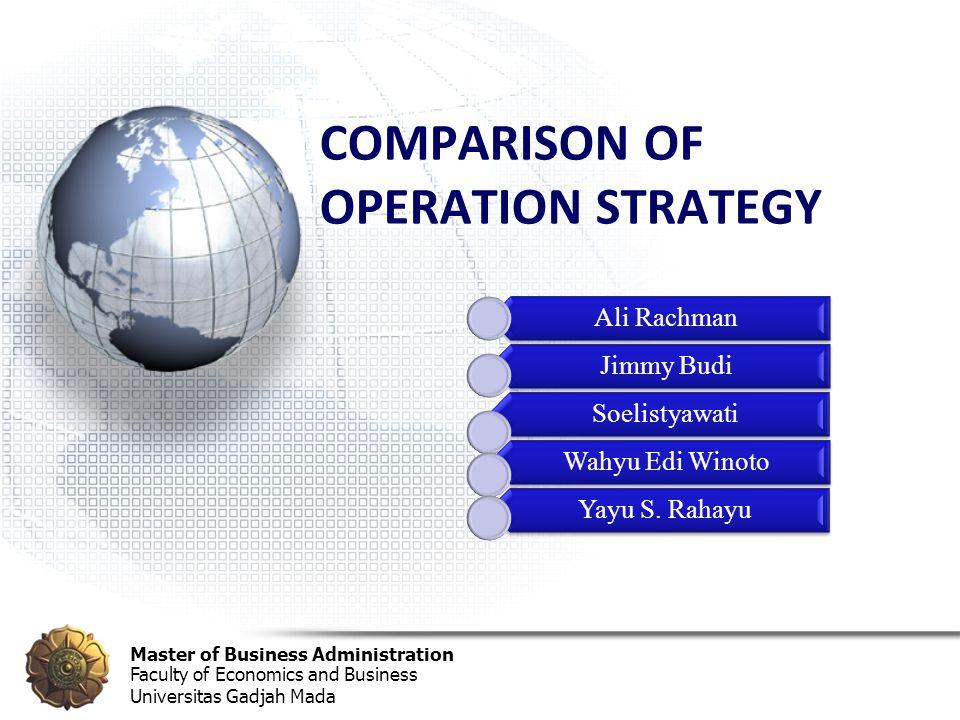 COMPARISON OF OPERATION STRATEGY Ali Rachman Jimmy Budi Soelistyawati Wahyu Edi Winoto Yayu S.