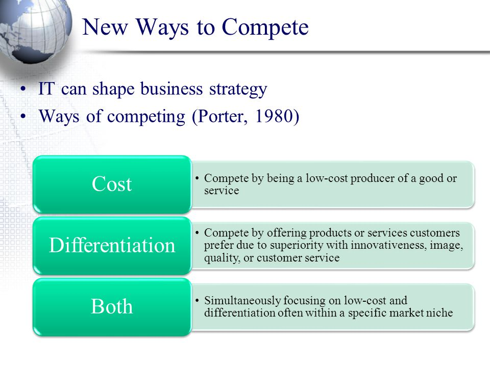 New Ways to Compete IT can shape business strategy Ways of competing (Porter, 1980) Compete by being a low-cost producer of a good or service Cost Com