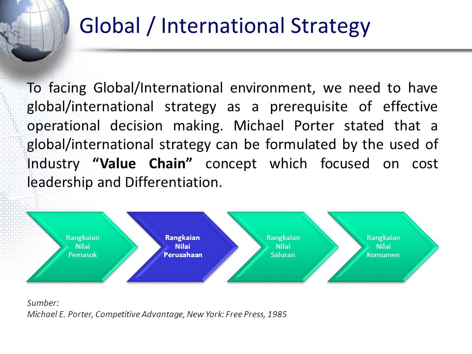 Global / International Strategy To facing Global/International environment, we need to have global/international strategy as a prerequisite of effecti