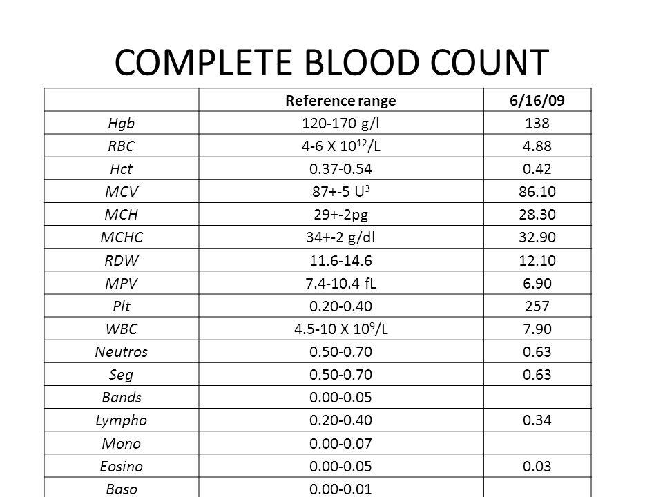 COMPLETE BLOOD COUNT Reference range6/16/09 Hgb120-170 g/l138 RBC4-6 X 10 12 /L4.88 Hct0.37-0.540.42 MCV87+-5 U 3 86.10 MCH29+-2pg28.30 MCHC34+-2 g/dl32.90 RDW11.6-14.612.10 MPV7.4-10.4 fL6.90 Plt0.20-0.40257 WBC4.5-10 X 10 9 /L7.90 Neutros0.50-0.700.63 Seg0.50-0.700.63 Bands0.00-0.05 Lympho0.20-0.400.34 Mono0.00-0.07 Eosino0.00-0.050.03 Baso0.00-0.01