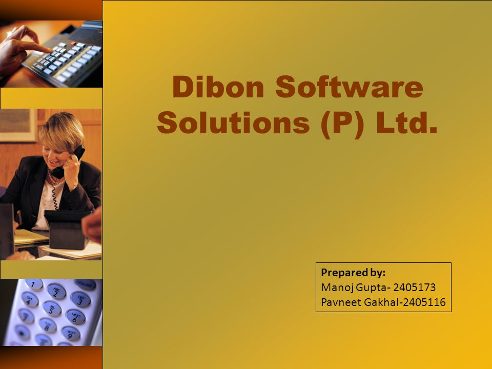 Dibon Software Solutions (P) Ltd. Prepared by: Manoj Gupta- 2405173 Pavneet Gakhal-2405116