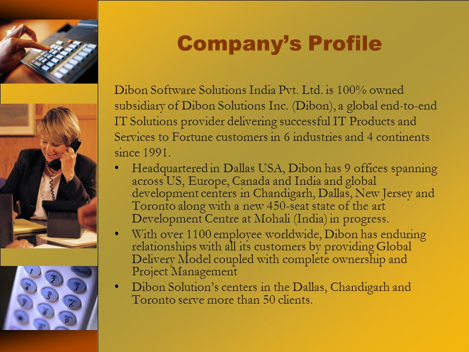 Company's Profile Dibon Software Solutions India Pvt.