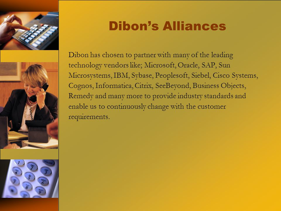 Dibon's Alliances Dibon has chosen to partner with many of the leading technology vendors like; Microsoft, Oracle, SAP, Sun Microsystems, IBM, Sybase, Peoplesoft, Siebel, Cisco Systems, Cognos, Informatica, Citrix, SeeBeyond, Business Objects, Remedy and many more to provide industry standards and enable us to continuously change with the customer requirements.