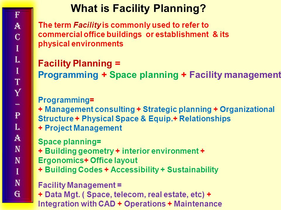 FACILITY–PLANNINGFACILITY–PLANNING TOP -DOWN VS BOTTOM-UP TOP DOWN STRATEGY Means looking at different Industries or business sectors to start with and then narrowing down the choices to the best – performing Companies within those sectors or industries Retail Petroleum IT BPO Insurance All Food Garments Watches Foot ware Hyper market Super market Dept.