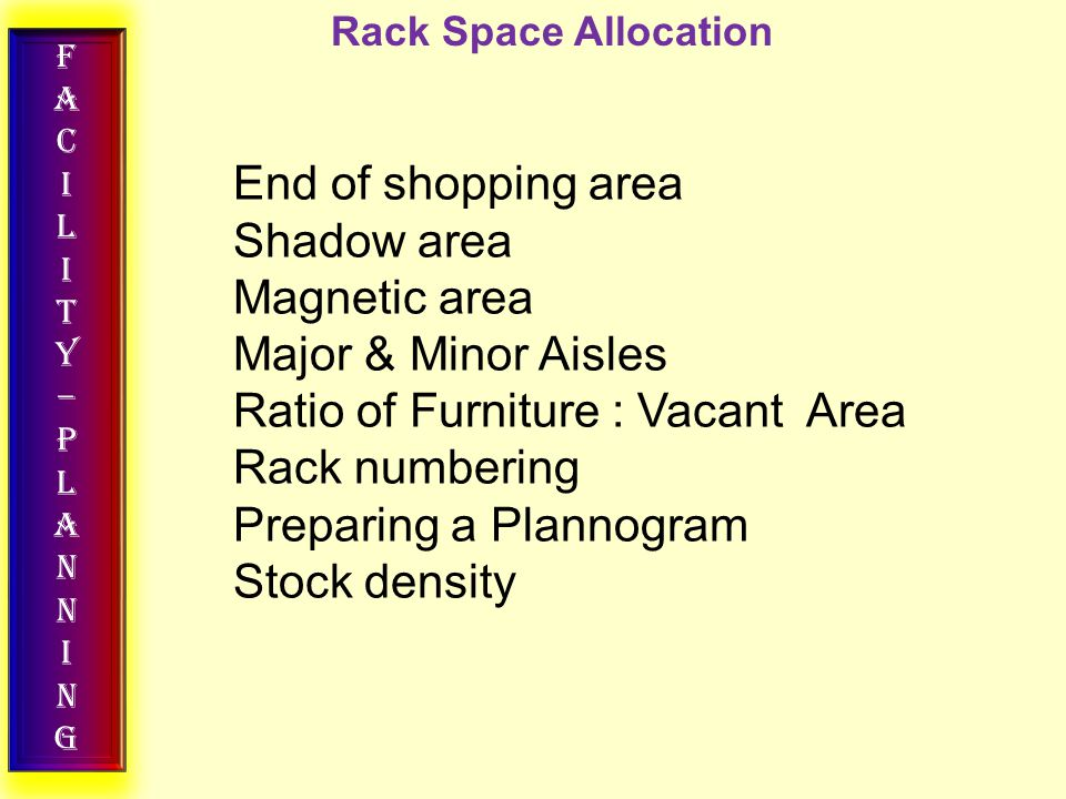 FACILITY–PLANNINGFACILITY–PLANNING Rack Space Allocation End of shopping area Shadow area Magnetic area Major & Minor Aisles Ratio of Furniture : Vaca