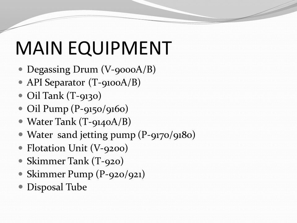 MAIN EQUIPMENT Degassing Drum (V-9000A/B) API Separator (T-9100A/B) Oil Tank (T-9130) Oil Pump (P-9150/9160) Water Tank (T-9140A/B) Water sand jetting pump (P-9170/9180) Flotation Unit (V-9200) Skimmer Tank (T-920) Skimmer Pump (P-920/921) Disposal Tube